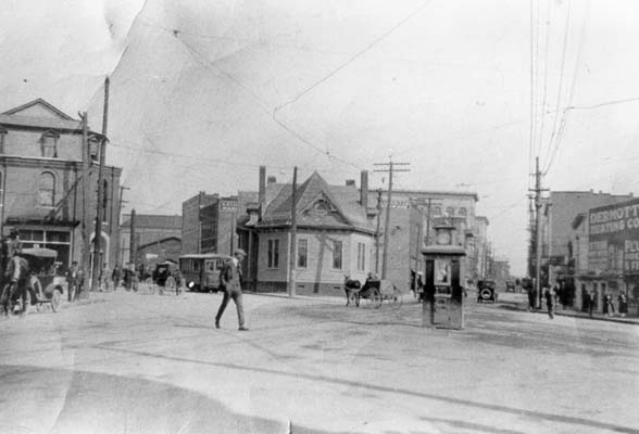 Five Points looking east, circa 1916, with the original Durham County Library building in the center.