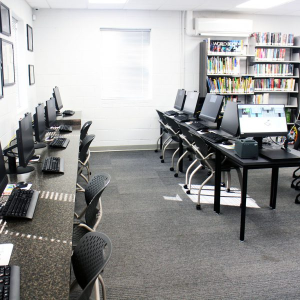 A row of available public computers