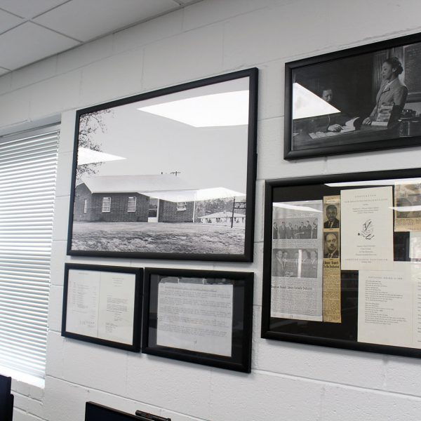 Framed pictures and documents representing Bragtown's long history