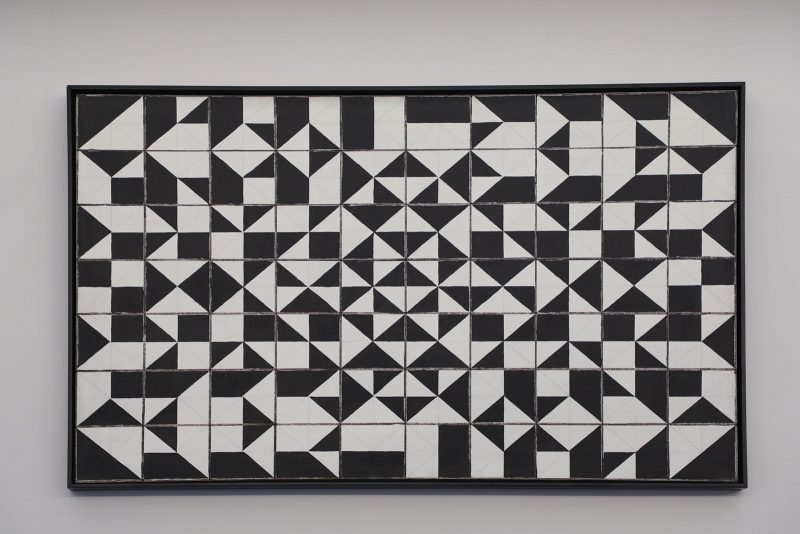 All the Possibilities of Four-Eighths II, by Vernon Pratt - a large, rectangular, black-and-white, painting with many geometric shapes