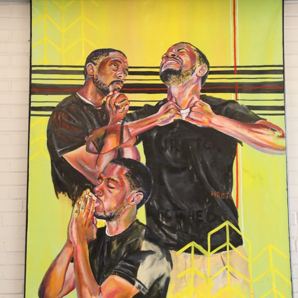 Wretched Man, by Lamar Whidbee - a large painting of a man in three different poses suggesting prayer and struggle