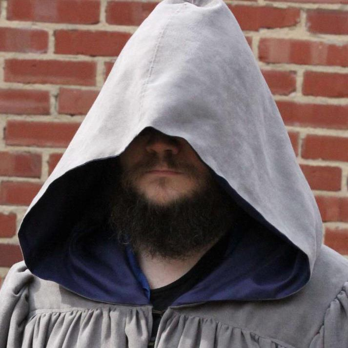 John, beard contest winner, in his best wizard costume