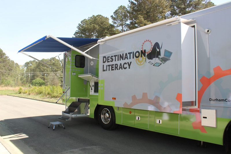 The Tech Mobile exterior with the canopy extended