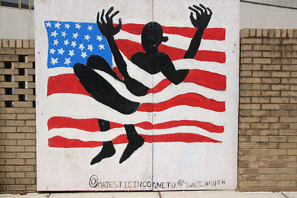 Mural from the 2020 Black Lives Matter protests in downtown Durham