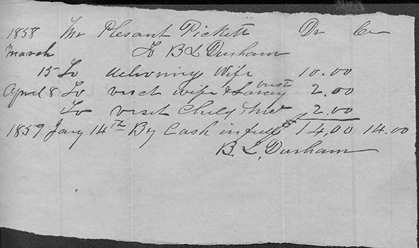 Rare original signature of Dr. Bartlett L. Durham, for whom Durham is named, on a receipt for payment for medical services