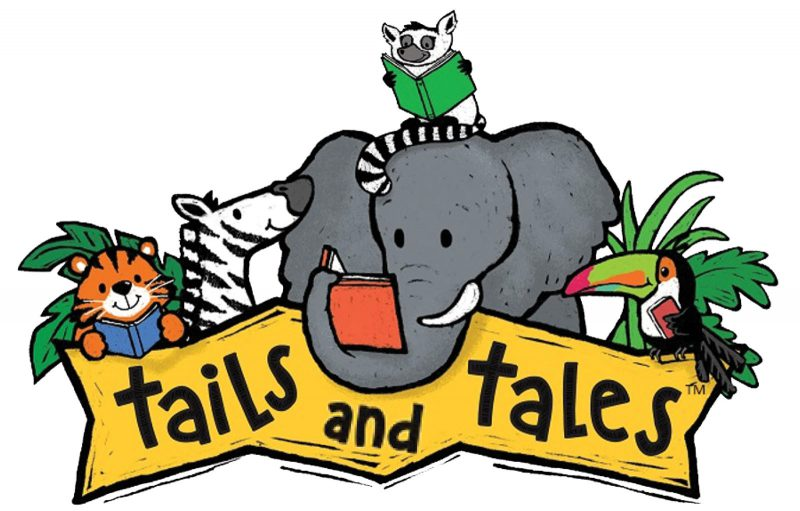 """Assortment of animals with the tagline """"tails and tales"""""""
