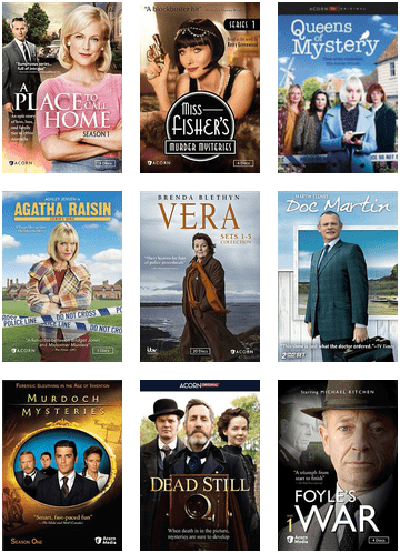 """DVD covers including """"Miss Fisher's Murder Mysteries,"""" """"Doc Martin,"""" """"Foyle's War,"""" and more"""