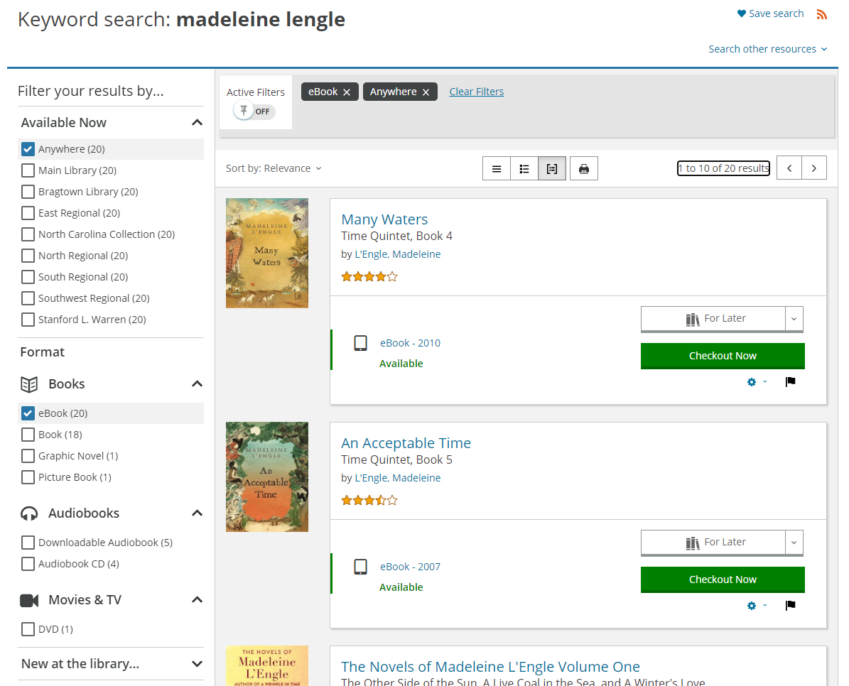 Search results filtered by availability = available now anywhere and format = ebook