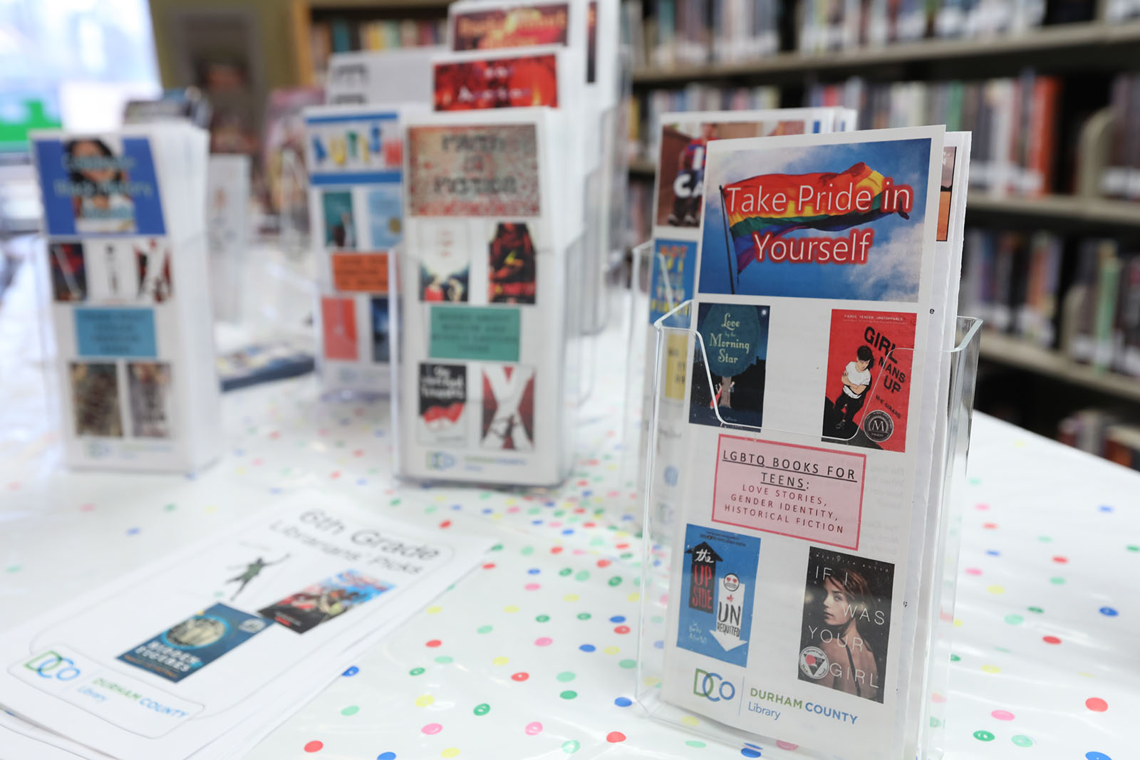 """Closeup of a printed book list titled """"Take Pride in Yourself: LGBTQ Books for Teens"""", with other printed lists visible in the background"""