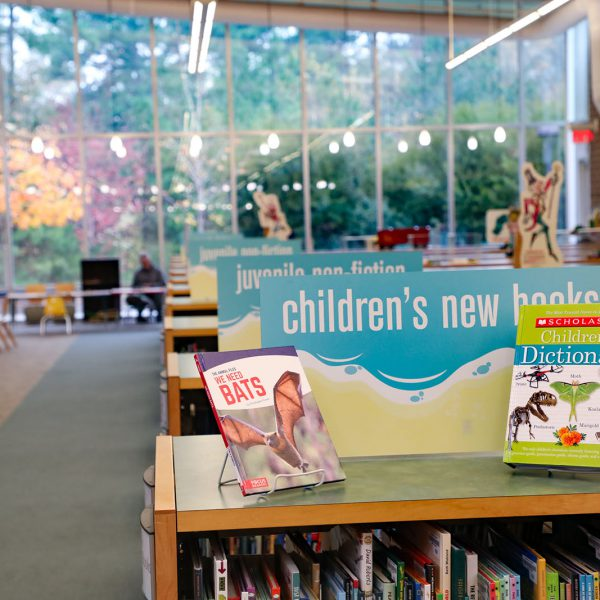 """Rows of low book shelves with signs on top saying """"children's new books,"""" """"juvenile non-fiction,"""" and more, reaching back to a wall full of large windows"""