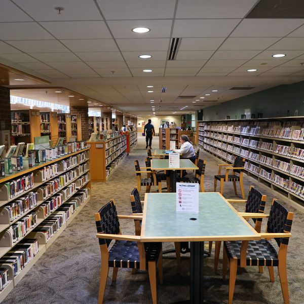 The open front area at North Regional, with shelves of books and DVDs surrounding large tables with chairs. A woman with a laptop sits at one of the tables