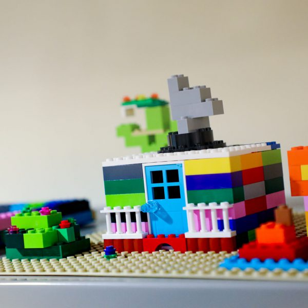 A colorful LEGO structure