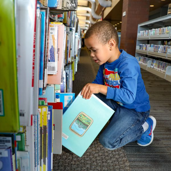 A child kneels to select a book from a shelf
