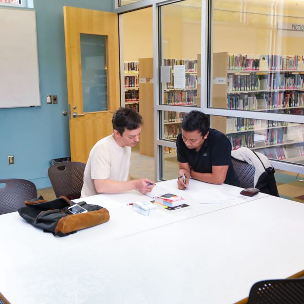 Two people holding pencils look together at a document. They're sitting at a large table in a room with a glass wall, with bookshelves outside