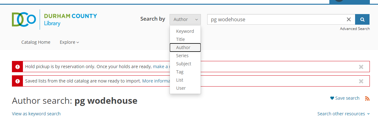 """Search with """"search by"""" dropdown toggled to author"""