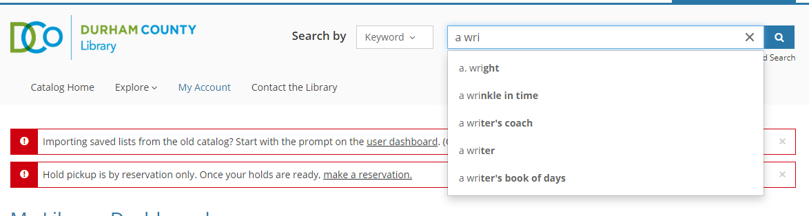 Basic text search with predictive results