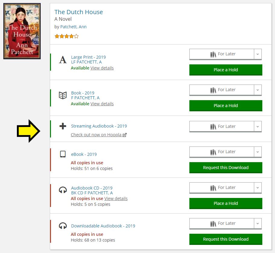 Listing for The Dutch House, with several formats available and an arrow pointing out the Hoopla format