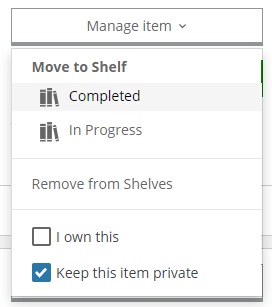 Manage Item button expanded, with options to move to a different shelf, remove, and keep private