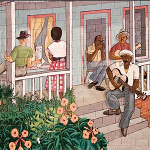Section of a mural depicting bluesman John Dee Holeman and friends at a house party