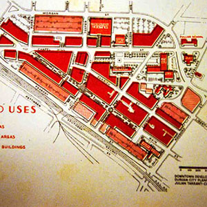 Map of major downtown Durham land uses from 1960