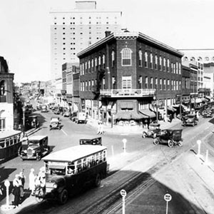 Black-and-white photograph of Five Points in downtown Durham