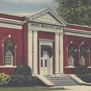Color drawing of the historic facade of Stanford L. Warren Library
