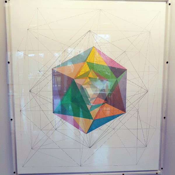 Three Icosahedrons, by John Hiigli - a painting of a multicolored polyhedron