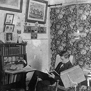 Future County Manager D.W. Newsom in his room at Trinity College