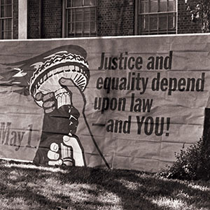 """North Carolina Central University Law Day Banner with slogan """"Justice and equality depend upon law - and YOU!"""""""