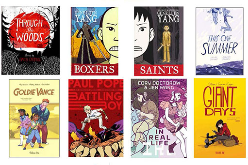"""Grid of graphic novel covers including """"Through the Woods,"""" """"Boxers,"""" """"Saints,"""" and more"""